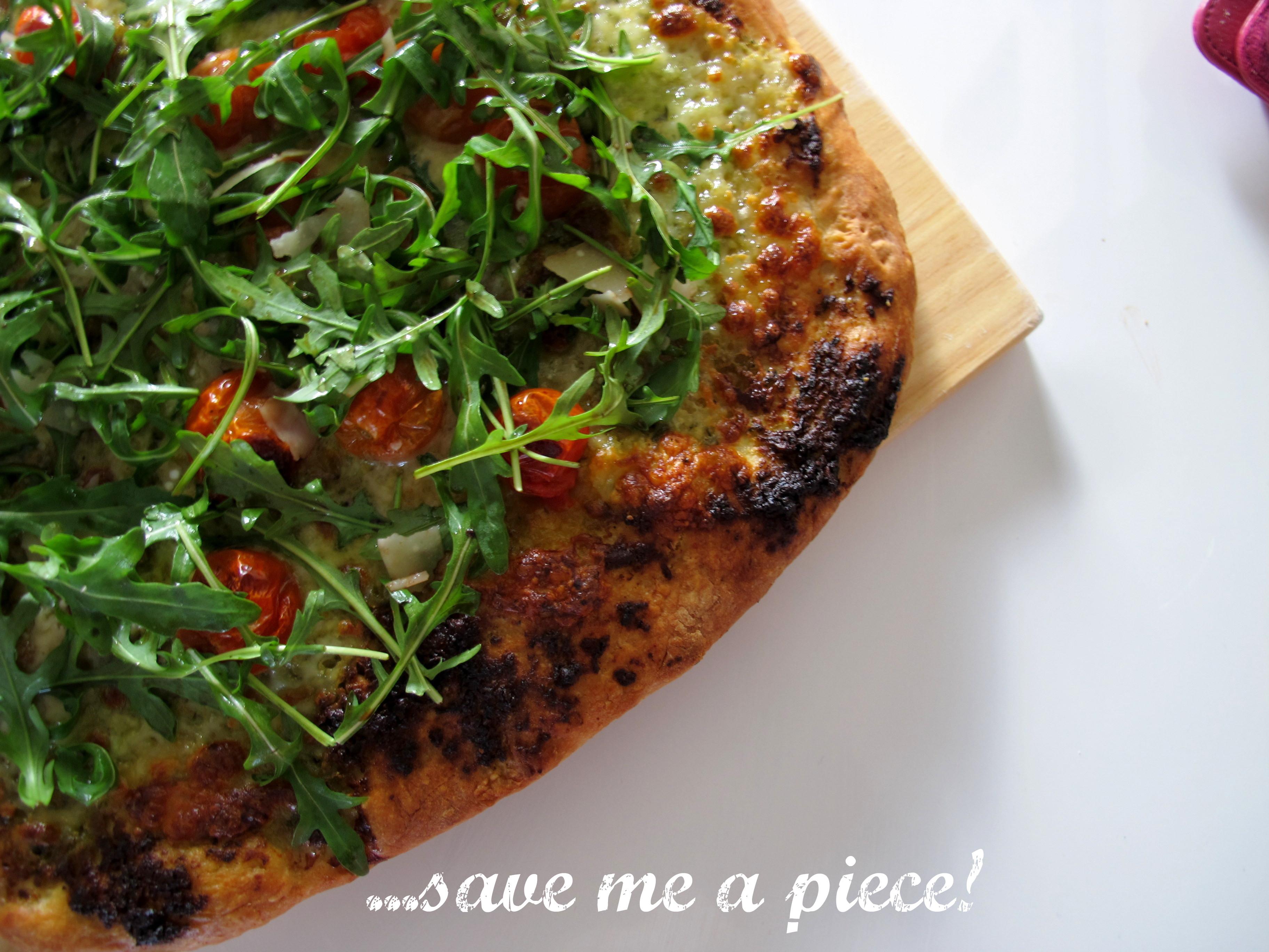 Cherry Tomato, Rocket and Pesto Pizza