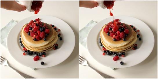 Brown Sugar Bejewelled Pancake Stack with Strawberry Vanilla Sauce